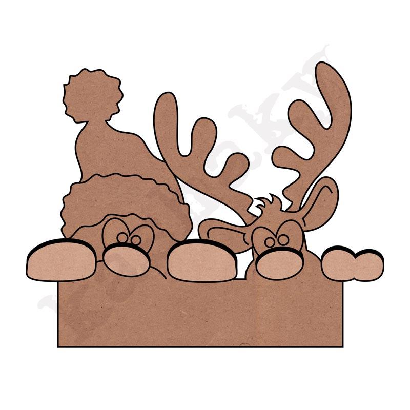 Noel y reno asomados